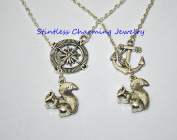 best friend gift,BFF Necklace for 2,Anchor, Compass,Silver Squirrel Necklace - Silver Pewter Squirrel Charm