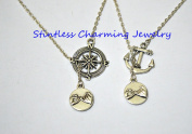 Compass necklace Anchor necklace, Best friends necklaces, Set of 2 best friends, Sisters gifts,Jewellery, Simple, Pinky Promise