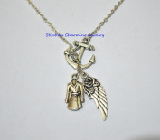 Best Friend Gift, Anchor Angel Wing anf clothes Necklace, Fairy Necklace, Refuse To Sink, Sister Necklace, Mother, In Memory Necklace