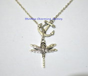 Silver Anchor Necklace ,silver dragonfly necklace fashion jewellery silver necklace dragonfly charm necklace handmade necklace