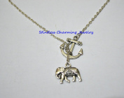 silver elephant necklace fashion jewellery elephant charm necklace handmade necklace anchor necklace,silver anchor,handmade,gift, nautical jewellery,anchor jewellery