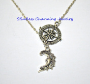 compass necklace - fashion jewellery - compass necklace Antique Silver Crescent Moon Necklace - Crescent Moon Jewellery - Crescent Moon Pendant