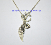 Memory Necklace, Angel Baby,Anchor Guardian Angel Wing Baby Footprints Necklace,Sister Necklace, Mother, In Memory Necklace