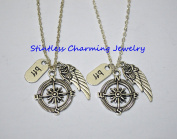 Compass, Angel wing and Best Friend Necklaces Bff,Compass, BFF ,Angel wing Necklaces,Traveller Necklace, Travel Jewellery