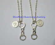 Handcuff Necklace, Silver Handcuff Charm, Initial Necklace, Police Cuffs, Personalised Stamped Initial Monogram Necklace