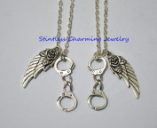 2 Handcuff (Partner in Crime), Angel Wing- Best Friend Necklaces/ Sister Gift, Bff, Partners in crime, In crime Jewellery, Handcuff Hand Cuff