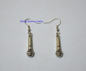 Silver microphone earrings, mic charm, singer, music theme, festival gig wear