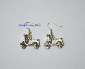 Silver Motorcycle Earrings - Motorcycle Jewellery,Silver Motorcycle Earrings - Dangle - Silver Plated French Hooks