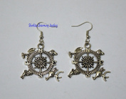 Antique silver compass earrings. Dangle earrings,game earrings,Simple Everyday Silver Earrings