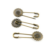 Price per 120 Pieces Jewellery Making Supply Charms Findings Filigrees R6TE4S Flower Safety Pins Brooch Antique Bronze Findings Beading Craft Supplies Bulk Lots