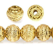 8mm 22kt Gold plated Copper Bead Miligrain Rings 8 inch 27 pieces