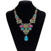 Sinfu Necklace Women Fashion Statement Crystal Bib Beaded Collar Necklace Choker