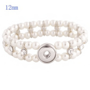 Lovmoment Bracelets Fit 12MM Charms Snaps Handmade Bracelets with Pearls and Rhinestones Snap Jewellery