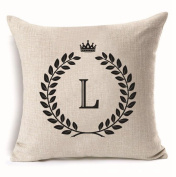 Aoligei English letter linen pillow cushion 45 * 45cm