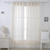 Deconovo Linen Look Semi Transparent Sheer Voile Window Curtains for Bedroom with Two Matching Tie Backs 140cm x 140cm Beige Two Panels