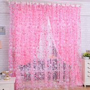 Bangle009 Print Floral Voile Door Sheer Window Curtains Room Curtain Divider 200cm x 100cm