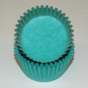 CakeSupplyShop Teal Solid Coloured Mini Cupcake Liners - Baking Cups -250pack with Edible Sparkle Flakes