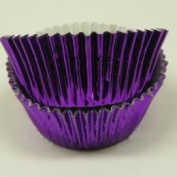 CakeSupplyShop Purple Mini Foil Cupcake Liners - Baking Cups -250pack with Edible Sparkle Flakes