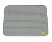 Silicone Drying Mat with bonus silicone spoon rest & storage band for easy storage- Easy Clean, Heat Resistant, Antibacterial XL Grey