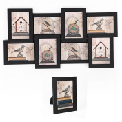 SONGMICS Collage Picture Frames 10cm x 15cm Puzzle Wall Mount Photo Frame 8 Openings 1 Table Stand Black URPF08B