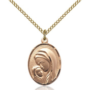 Gold Filled Madonna & Child Pendant 1.9cm x 1.3cm with 46cm Gold Filled Curb Chain