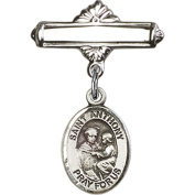 Sterling Silver Baby Badge with St. Anthony of Padua Charm and Polished Badge Pin 2.5cm X 1.6cm
