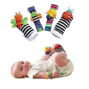 La Tartelette Baby Socks Toys Wrist Rattles and Foot Finders, New Style - Set of 4 Pcs