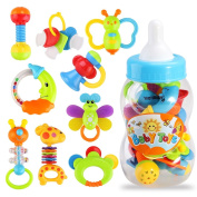 YeahiBaby 9pcs Baby's First Rattle and Teether Toy with Giant Milk Bottle Grasp Colourful Toy