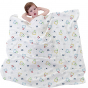 All Natural, 100% Cotton 4-Layer Baby & Toddler Bed, Stroller or Car Blanket