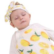 Muslin Swaddle Blanket,Receiving Blankets,Soft Newborn Baby Blanket & Headband Set
