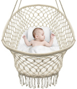 Sorbus Baby Crib Cradle, Hanging Bassinet and Portable Swing for Baby Nursery, Macramé Rope Fringe