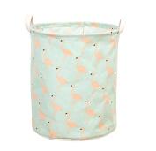Canvas Toy Storage, Foldable Laundry Basket with Handle, Flamingo Printed Nursery Toy Organiser for Kids - Laundry Basket/ Toy Basket/ Storage Bins