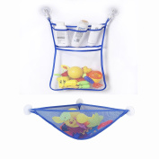 WoSite Bath Organiser Set - Bathtub Toy Storage Organiser + Large Storage Net Bag + 3 strong suction hook, Storage Shower Accessories, Cosmetics and Toys