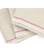 Vollum Baker's Couche Proofing Cloth 60cm x 90cm , 100% Pure French Flax Linen with Red Stripe