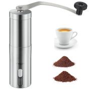 Manual Coffee Grinder , SIEGES Adjustable Ceramic Burr Coffee Grinder Durable Coffee & Spice Mill Portable 304(18/8) Premium Stainless Steel Hand Coffee Grinder For Travel Camping Hiking