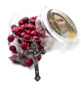 Rose smell Rosary Petal Red Rare Carved Beads & Silver Plated cross