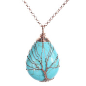 Top Plaza Wire Wrapped Tree of Life Natural Gemstone Teardrop Pendant Necklace Healing Crystal Chakra Jewellery for Women - Synthetic Green Turquoise