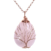 Top Plaza Wire Wrapped Tree of Life Natural Gemstone Teardrop Pendant Necklace Healing Crystal Chakra Jewellery for Women - Rose Quartz