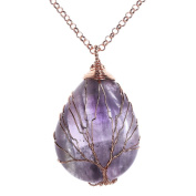 Top Plaza Wire Wrapped Tree of Life Natural Gemstone Teardrop Pendant Necklace Healing Crystal Chakra Jewellery for Women - Amethyst