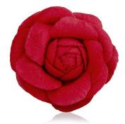 MISASHA Celebrity Designer Fabric Tweed Camellia Red Flower Pin Brooch