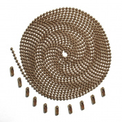 3m Length Ball Chain, #3 Size, Antique Brown, with 10 Matching Connectors
