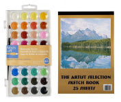 Watercolour Paint 36 Colours And Sketch 25 Page Book Set