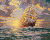 Plaid Creates Paint by Number Kit (50cm by 41cm ), 22723 Courageous Voyage by Thomas Kinkade