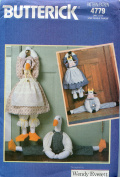Butterick Craft Pattern 4779 ~ Draught Stop Stuffed Cow and Duck with Country Theme Outfits ~ Designed by Wendy Everett
