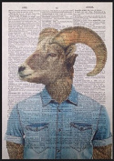 Vintage Ram Head Print Dictionary Page Wall Art Picture Sheep Animal Hipster Quirky Funky