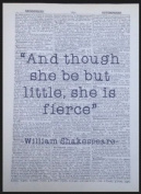 Shakespeare Quote Vintage Dictionary Page Print Wall Art Picture Little Fierce