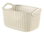 Curver Knit Rectangular Storage Basket, Plastic, Oasis White, 3 Litre