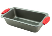 Loaf Pan - Premium Non-Stick Steel 22cm Loaf Pan by Boxiki Kitchen | Professional No-Stick Bakeware for Baking Banana Bread, Meatloaf, Pound Cake | 22cm x 11cm x 7cm , with Red Silicone Handles