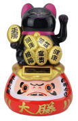 A Black Beckoning Maneki Neko Fortune Cat Japanese Oriental on Daruma Doll Solar Toy Housewarming Gift Home Decor B11884 ~ We Pay Your Sales Tax