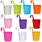 Yaheetech Paint Cups in 10 Colours Metal Iron Hanging Watercolour Paint Brushes Holder Flower Pot Set